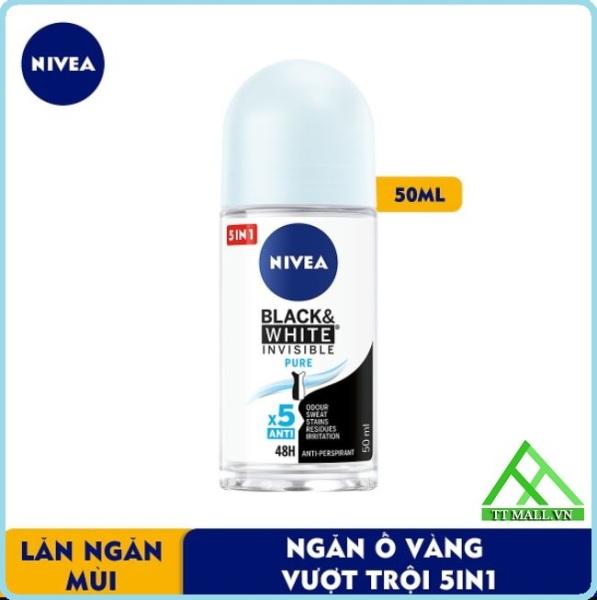 Lăn Ngăn Mùi Nữ Nivea Black & White Ngăn Vệt Ố Vàng Vượt Trội 5in1 50ml cao cấp
