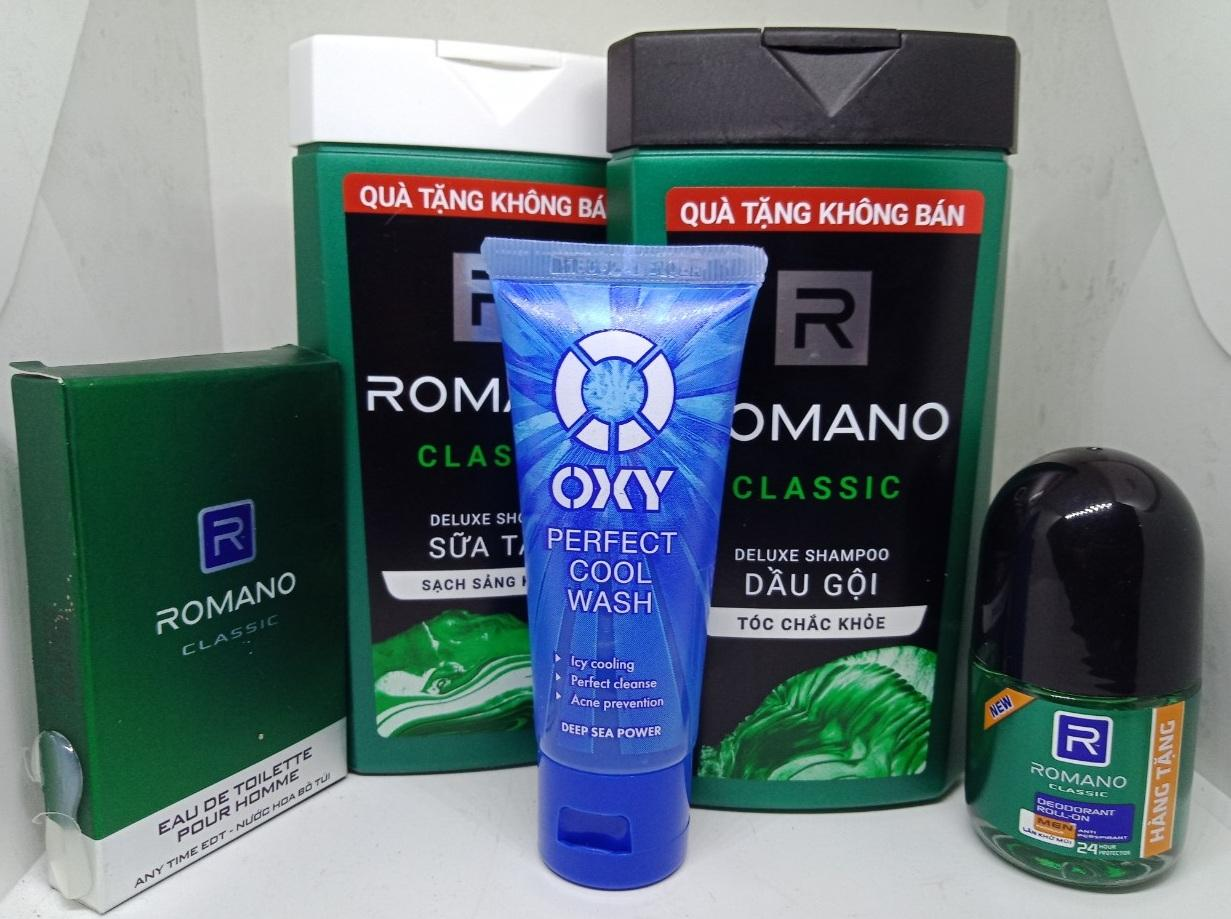 Combo 5 món Hàng Tặng gồm 1 sữa tắm Romano 150g. 1 Dầu gội đầu Romano 150g . 1 Oxy 25g, 1 lăn khử mùi Romano Classic 15ml, 1 Nước Hoa Romano Classic 18 ml