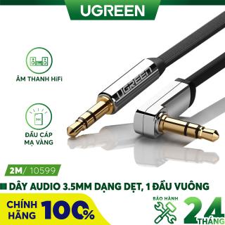[Nhập ELMAY21 giảm thêm 10% đơn từ 99k] Dây Audio 3.5mm dẹt, 1 đầu vuông 90, TPE UGREEN AV119 - Hãng phân phối chính thức thumbnail
