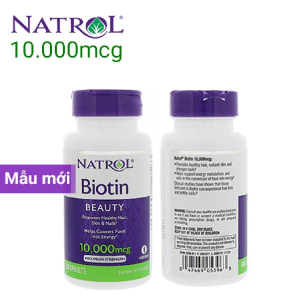 Viên uống mọc tóc Natrol Biotin 10000mcg Maximum Strength chai 100 viên Date 2022 giá rẻ
