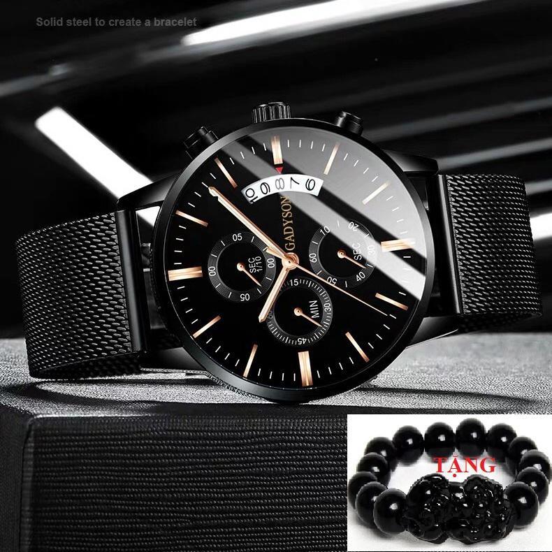 Đồng hồ nam dây thép đen DIZIZID - Thiết Kế Cá Tính mạt mỏng cấp GAD6K bán chạy