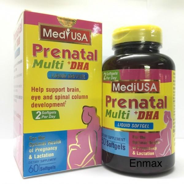 [Hộp 60 viên] Vitamin tổng hợp cho bà bầu, axit folic cho bà bầu PRENATAL MULTI + DHA - Giúp bổ sung vitamin và khoáng chất cần thiết cho phụ nữ trong thời kỳ mang thai và cho con bú