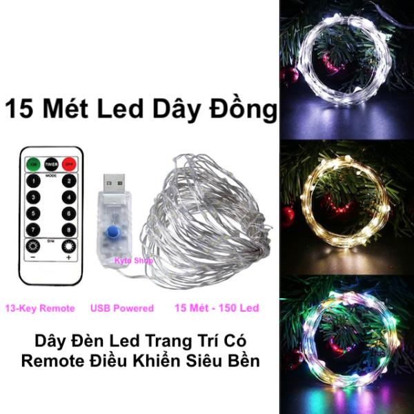 15m Dây Đèn LED Trang Trí có Remote điều khiển với 8 chế độ chớp nháy sử dụng cổng nguồn USB Dây Led dây đồng.