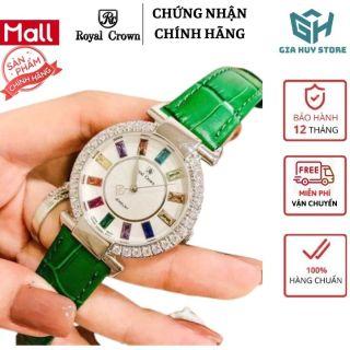 Đồng Hồ Nữ Dây Da ROYAL CROWN Jewelry Đẹp Sang Trọng Mặt Đá 12 Màu - Bảo Hành 12 Tháng thumbnail
