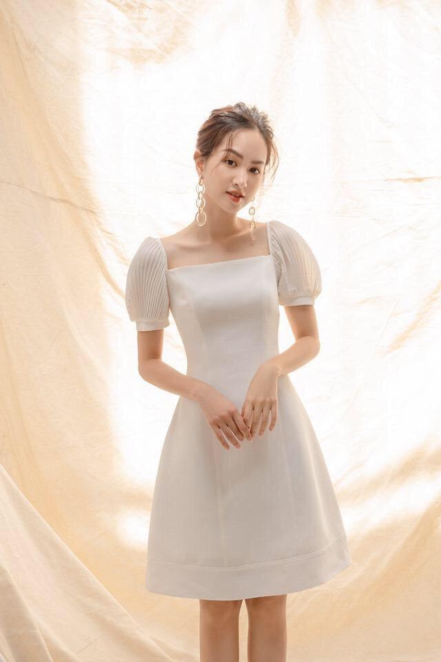 Voucher Khuyến Mại Đâm Nữ Dự Tiệc  Xòe Cổ Vuông Tay Cắt Sếp Thanh Lịch TD Fashion
