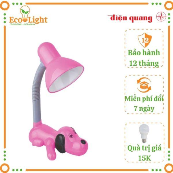 [BH 12 tháng + Quà 15K] Đèn bàn học Điện Quang Ecolight DKL06 bóng đèn led 4W ánh sáng vàng, bảo vệ mắt, chống cận thị kiểu con chó hồng cho bé vừa học vừa chơi Tặng bóng led 3W