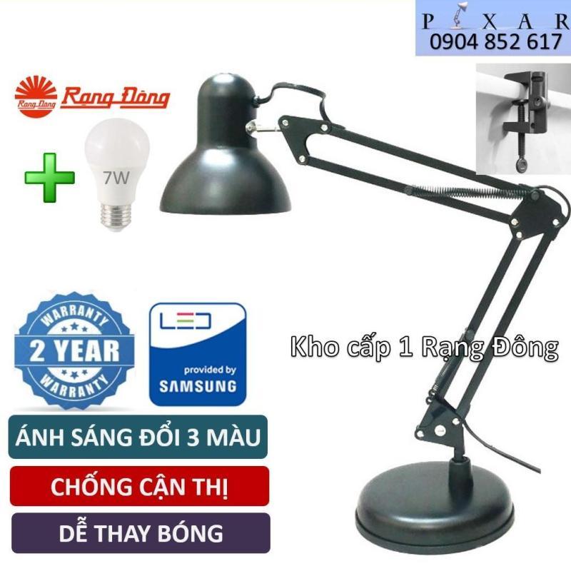 Đèn học kẹp bàn, Bóng 7W LED Đổi 3 Màu Rạng Đông, SAMSUNG ChipLED, kèm Đế và kẹp bàn, Mã: PX 02