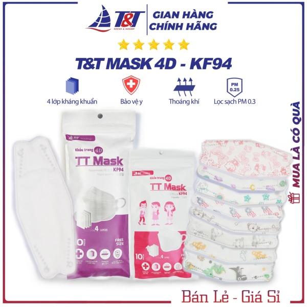Túi 10 chiếc khẩu trang KF94 4D mask cho trẻ em giá rẻ