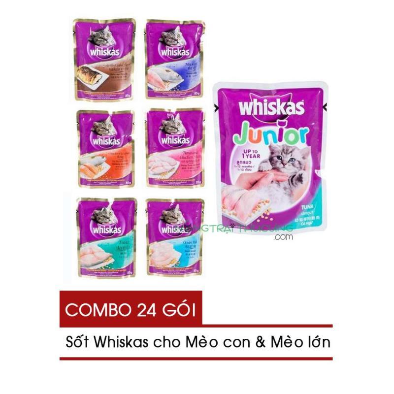 [COMBO 24 GÓI] Sốt Whiskas Cho Mèo Gói 85gr - Mix 6 vị -  [Nông Trại Thú Cưng]