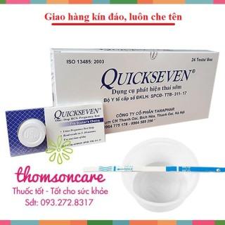 Que thử thai Quickseven - tiện dụng - nhanh chính xác - luôn che tên - chính hãng sản phẩm có nguồn gốc xuất xứ rõ ràng sử dụng dễ dàng cam kết hàng nhận được giống với mô tả thumbnail
