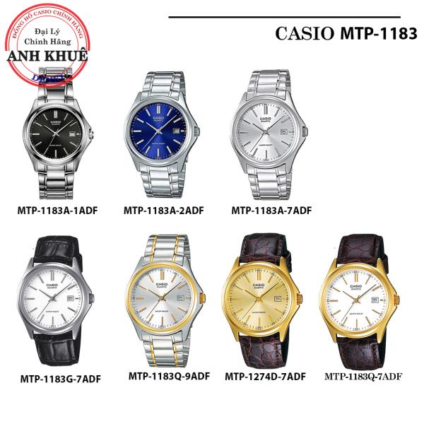 Đồng hồ nam dây da Casio chính hãng Anh Khuê MTP-1183 (7 màu sắc) MTP-1183A, MTP-1183E, MTP-1183G, MTP-1183Q
