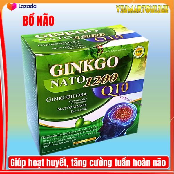 Hoạt huyết dưỡng não Ginko Nato 1200 Q10 France gruop  với thành phần Ginkgo Biloba 360mg giúp  giảm đau đầu, hoa mắt, chóng mặt, rối loạn tiền đình - Hộp 100 viên Ginkgo Biloba, cao đinh lăng, cao lạc tiên