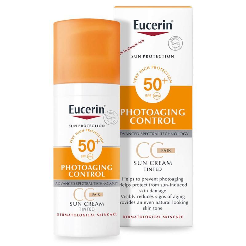 Kem chống nắng SPF 50+ trang điểm có màu phấn Eucerin Sun Creme Tinted SPF 50+ 50ml