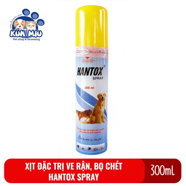 Chai xịt diệt ve rận, bọ chét, ký sinh trùng cho chó mèo Hantox spray 300ml có thể xịt phòng, chỗ ở, chuồng, cũi
