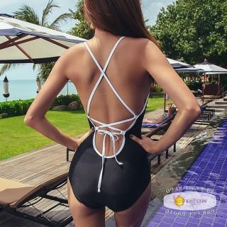 Bikini đồ bơi liền trần hở lưng đen sexy thumbnail