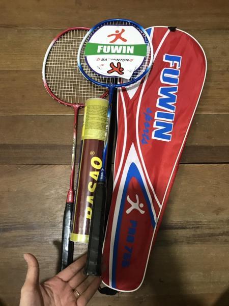 Combo Bộ 2 cây vợt cầu lông Fuwin 755 tặng ngay 1 hộp cầu lông 3 sao 10 quả
