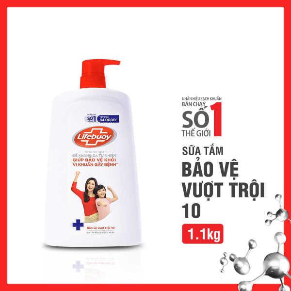 Sữa tắm Lifebuoy Bảo vệ vượt trội 10 1.1KG