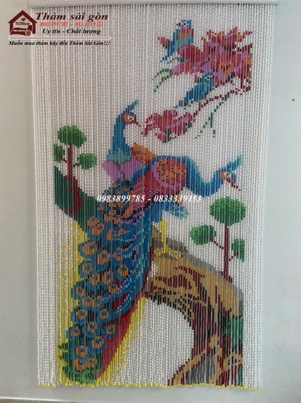 [ khổ 1m x 2m] Rèm phale hạt nhựa tranh chim công nền trắng