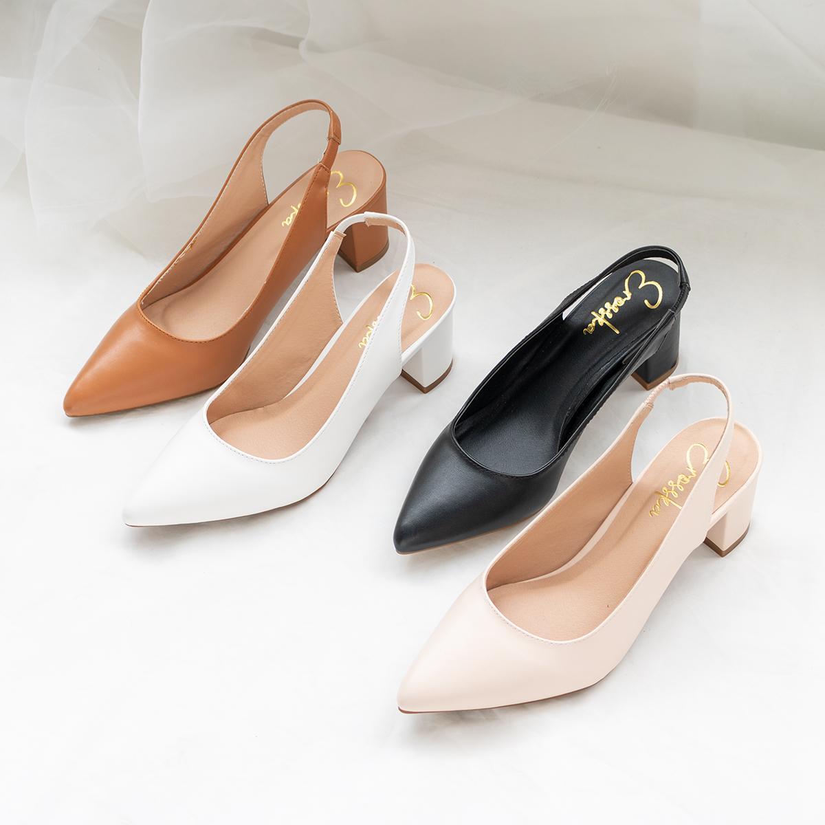 Giày Nữ, Giày Cao Gót Slingback Hở Gót, Bít Mũi Thời Trang Nữ Kiểu Dáng Basic _ EH015 (WH) Giá Rẻ Nhất Thị Trường