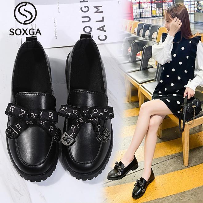 SOXGA Phụ Nữ Giày Giày Oxford Hoài Cổ Mùa Xuân Đối Với Phụ Nữ Giày Lười Thường Ngày Nền Tảng Giày Phẳng giá rẻ