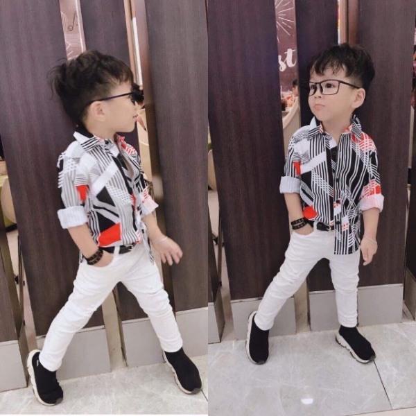 Quần Áo Bé Trai - Set bộ bé trai áo sơmi và quần kaki