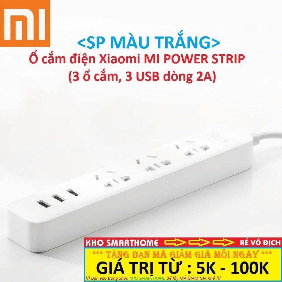 Ổ cắm điện Xiaomi (MI POWER STRIP - MÀU TRẮNG), với 3 ổ cắm điện, 3 USB 2A.