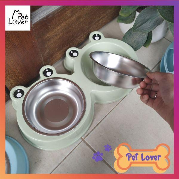 Bát ăn cho mèo, bát ăn cho chó, khay inox kèm theo, sạch sẽ, dễ dàng vệ sinh (size cho pet từ 1-6kg) - petlover
