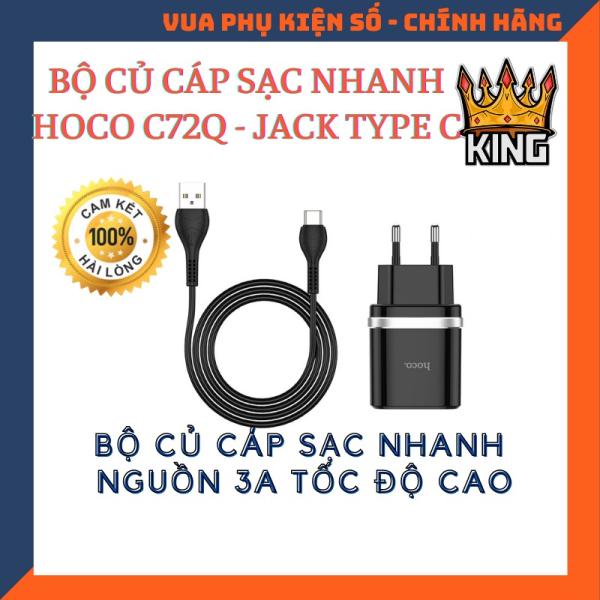 HÀNG CHÍNH HÃNG✔Bộ Sạc Nhanh 18W Hoco C72Q 3A Type C Chất Liệu PVC An Toàn