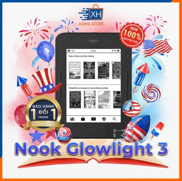 [Trả góp 0%]Máy đọc sách Nook Glowlight 3 - New 100% nguyên seal - Chính hãng Barnes & Noble - tặng túi chống sốc vải nỉ