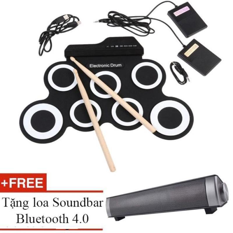 Euro Quality trống điện tử cho bé Electronic Drum Portable USB (Black White) + tặng loa sounbdbar 4.0