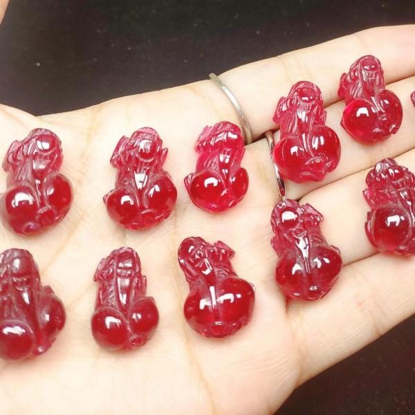 Tỳ hưu Garnet đỏ nổi bật, bọc vàng, bạc tùy ý, dùng cho cả nam và nữ