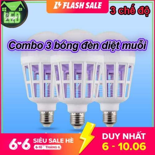 [HCM]Combo 3 bóng đèn diệt muỗi 15W ánh sáng trắng - hàng chuẩn siêu sáng tiết kiệm điện tối ưu (đường kính 9 cm - tắt mở liên tục để chuyển chế độ)