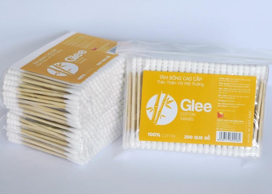 Tăm bông người lớn que thân gỗ Glee (Gói 200 que) nhập khẩu
