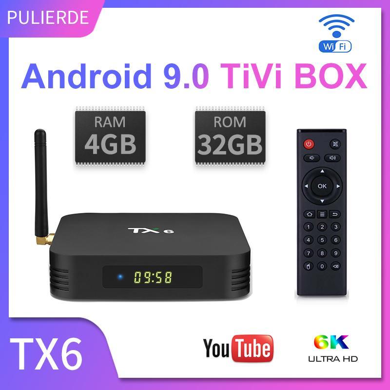 TX6 tivi box android 9.0 4GB RAM 32GB ROM 2.4G wifi Hỗ trợ 6K smart TV box Trình phát đa phương tiện Allwinner H6 Quad Core