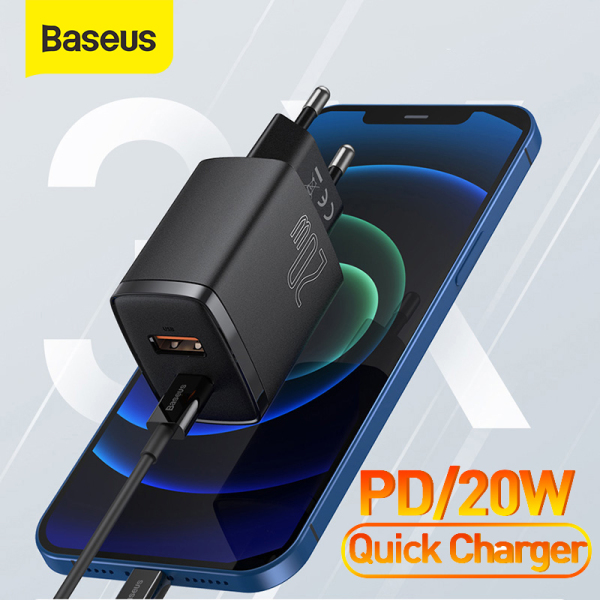 Baseus PD 20W USB Charger Dual USB Port Fast Charging Portable Type C Phone Charger For iPhone 12 Pro Max 11 Mini Charger hshop365 abshop365 abshop hshop