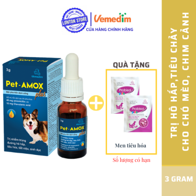 Dung Dịch Uống Giảm Tiêu Chảy, Hô Hấp Cho Chó Mèo Pet-Amox Plus 3g - Lonton Store