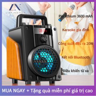 Loa Bluetooth Karaoke Không Dây (Không Micro) Hát Công Suất Lớn 20W + Điều Khiển Từ xa Đầu Đọc Thẻ Loa Gỗ Với Pin Dung Lượng Lớn 3600MAH thumbnail