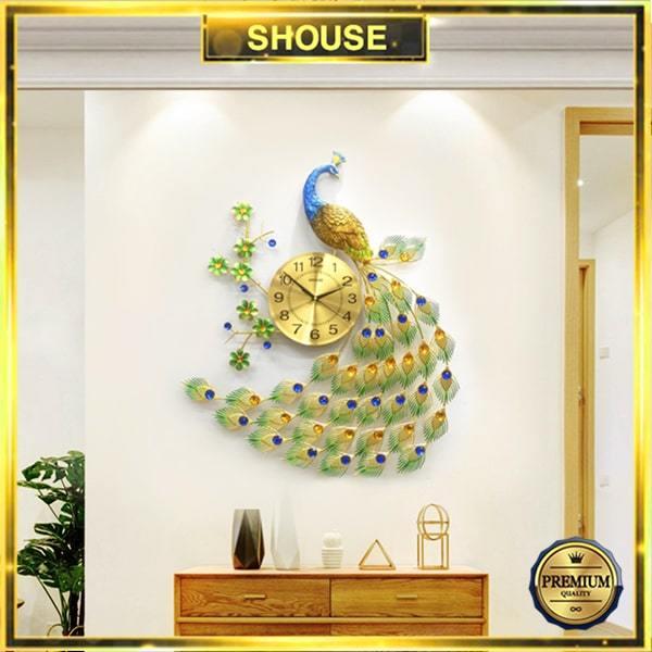 Đồng Hồ Treo Tường S-A68 Trang Trí Con Công chim khổng tước đẹp độc lạ hiện đại cao cấp cỡ lớn 3d phù hợp phòng khách, phòng ngủ bán chạy
