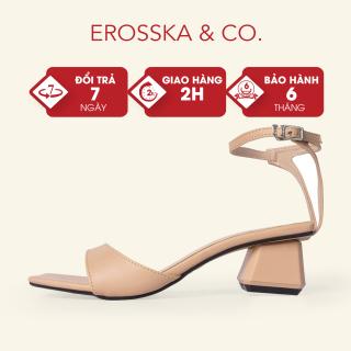 Giày sandal cao gót Erosska mũi vuông phối dây mảnh quai ngang cao 3cm màu nude - EB032 thumbnail