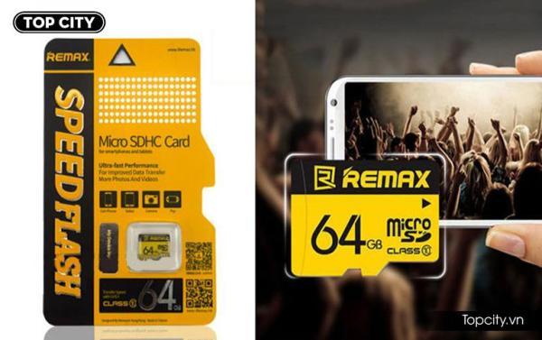 Thẻ nhớ 64G Remax Class 10 tốc độ 80MB/s chuyên dụng cho các dòng điện thoại / camera hành trình / camera IP BẢO HÀNH 5 NĂM