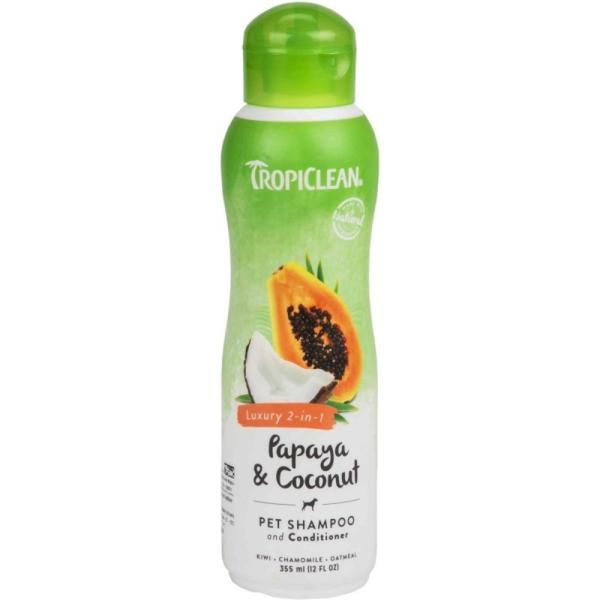 Dầu gội và xả 2 in 1 chiết xuất từ đu đủ và dừa cho thú cưng TropiClean Papaya Coconut Pet Shampoo and Conditioner