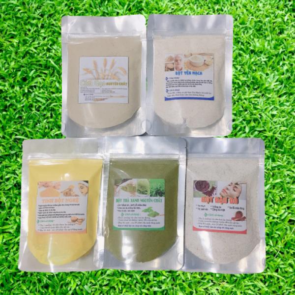 (Tặng kèm bộ chén cọ )Combo siêu trắng da :  Bột Trà xanh & Cám gạo  & Yến mạch & Đậu đỏ & Bột nghệ (mỗi gói 50gr và 100gr)