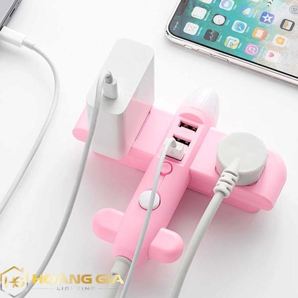 Ổ Cắm Điện Thông Minh Hình Máy Bay Có Đèn Ngủ Chuyển Đổi Đa Chức Năng - Có Đầu Cắm USB Chuẩn Sạc An Toàn Chống Giật - Tặng kèm phích chuyển 3 chân