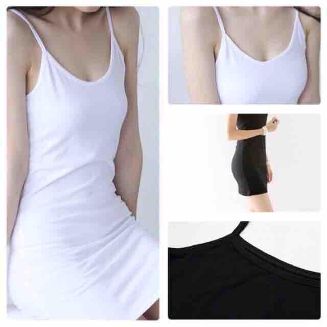 Váy lót váy thun 2 dây trắng/đen