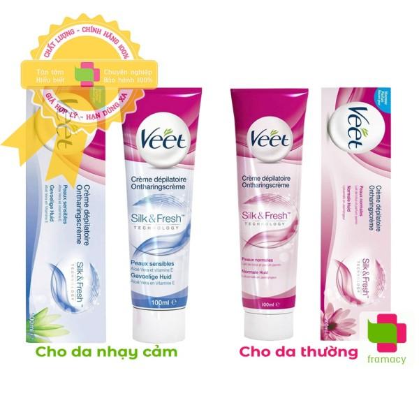 Kem tẩy lông Veet Silk & Fresh, Pháp (100ml) cho da thường (hồng) và da nhạy cảm (xanh dương)