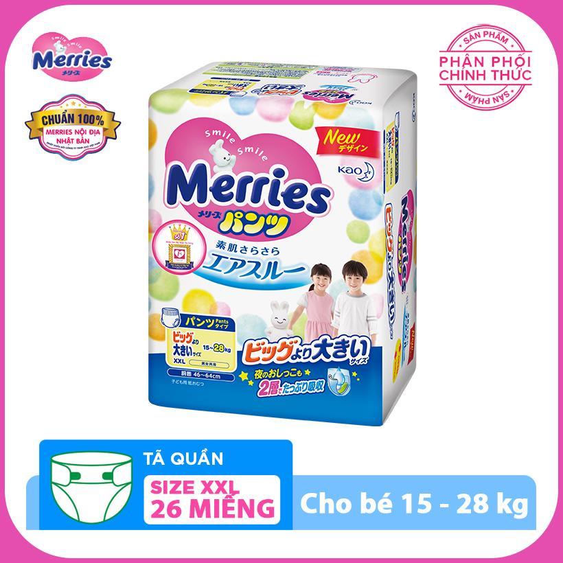 Tã/bỉm quần Merries size XXL - 26 miếng (Cho bé...