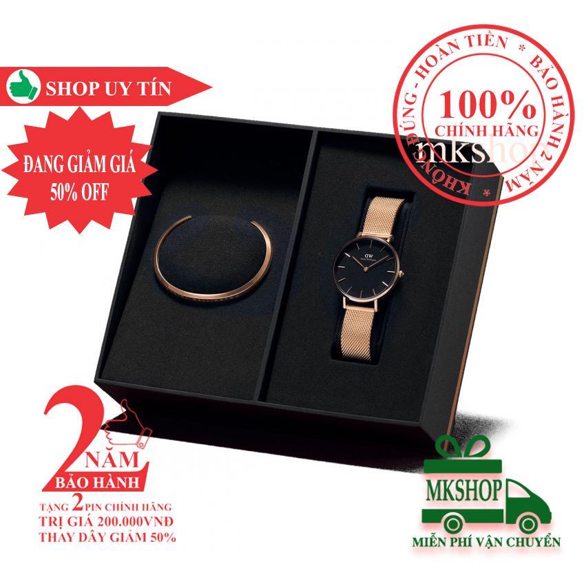 Hộp quà đồng hồ nữ Daniel Wellington Petite Melrose 32mm + Vòng tay DW Cuff - màu vàng hồng (Rose Gold) - DW00500001 bán chạy