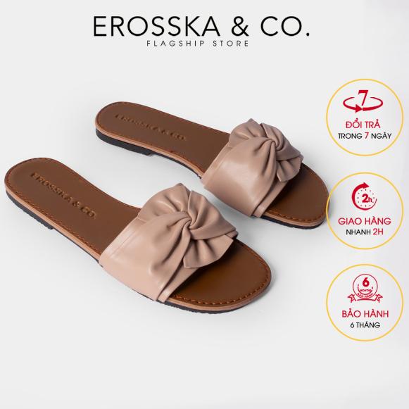 Dép đi biển thời trang Erosska 2021 kiểu dáng đơn giản thiết kế phối nơ xoắn chéo DE032 (NU) giá rẻ