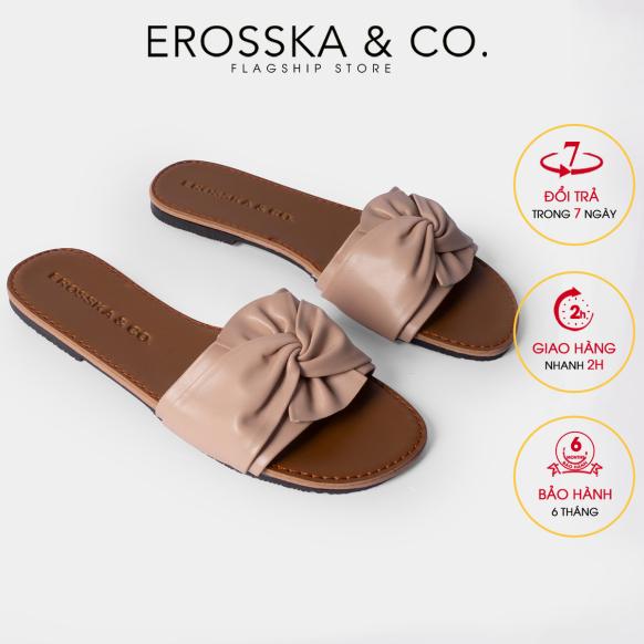 Dép nữ thời trang Erosska kiểu dáng đơn giản thiết kế phối nơ xoắn chéo DE032 (NU) giá rẻ