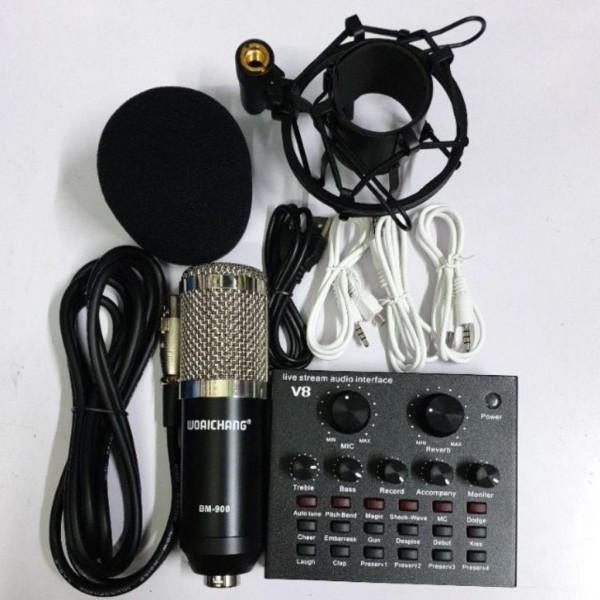 Combo Soundcard V8 AQTA Chính Hãng Bluetooth + Mic Karaoke Livetream BM 900, Có AutoTune Chuẩn Phòng Thu